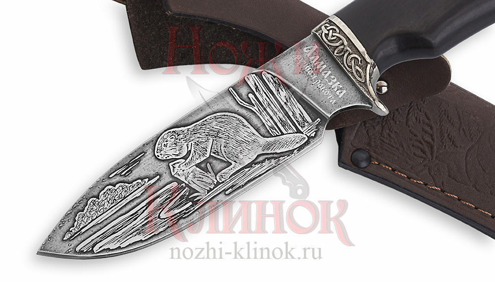Нож Бобр (алмазная сталь, гравировка, чёрный граб, литьё)