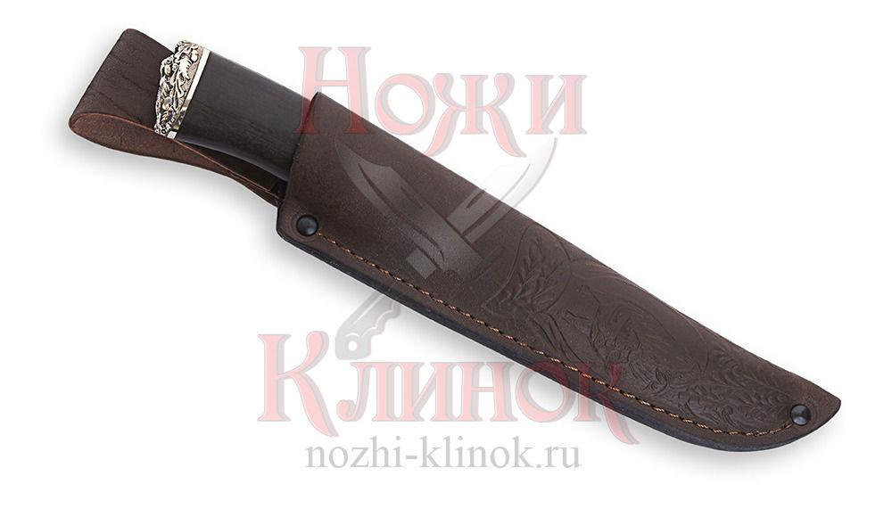 Нож Егерь (алмазная сталь, гравировка, чёрный граб, литьё)