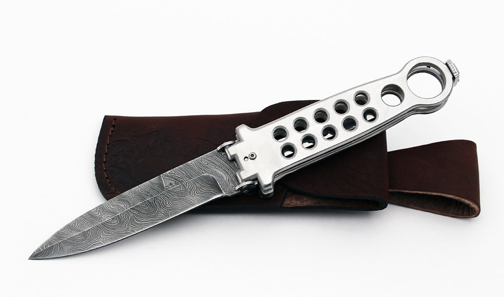 Складной нож Хамелеон (дамаск, белый, с клипсой)