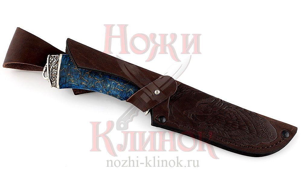 Нож Бобр (мозаичный дамаск, стабилизированная карельская береза, литье)