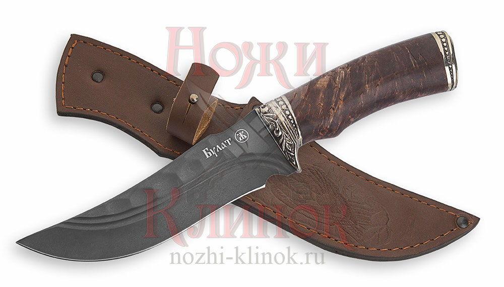 Нож Восток (булат, долы+камень; карельская берёза, литье)